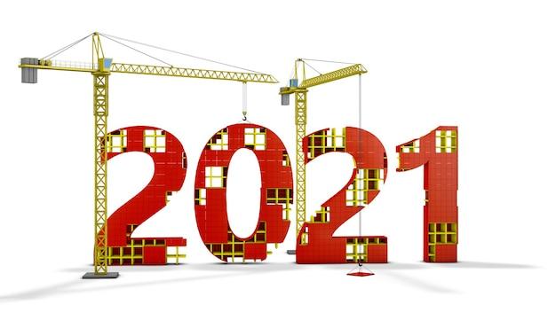 Два башенных крана строят объемную фигуру 2021 года