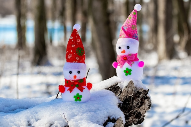 Two toy snowmen in the forest in sunny weather