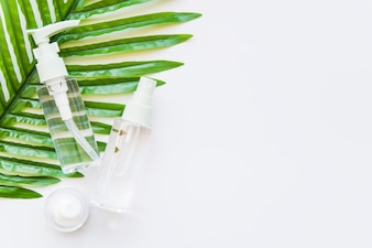 Two transparent cosmetic bottle with spray head and moisturizer on green leaf against whit e background