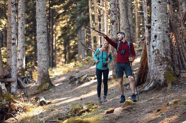 男が森の風景の中の何かを指している間、バックパックを歩いている2人の旅行ハイカー。