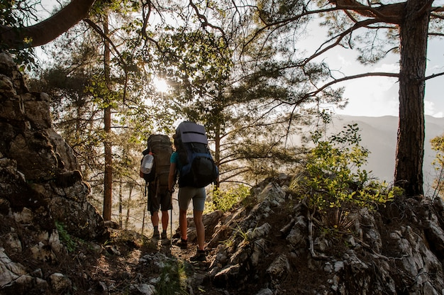 Two travellers with backpacks wandering in forest