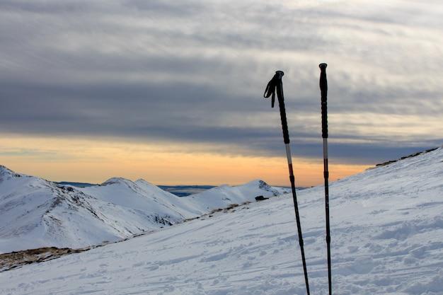 雪の中で立ち往生している2本のトレッキングスティック。スポーツコンセプト