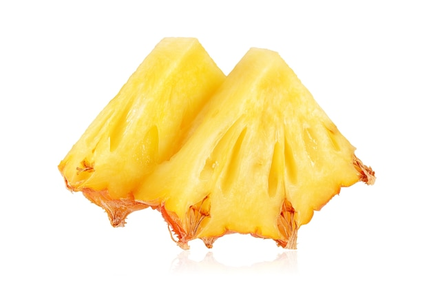 Two triangle slices of ripe yellow pineapple isolated