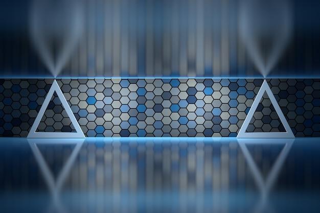 거울 표면 위에 육각형 벽이있는 방에있는 두 개의 삼각형 기둥