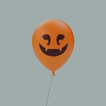두 개의 위 치아 행복한 미소 유령의 할로윈 무서운 만화 얼굴 풍선 이모티콘 격리 된 3d 렌더링