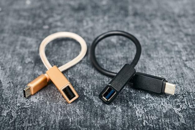 여러 장치와 호환되는 2 개의 usb 케이블 유형 a-유형 c