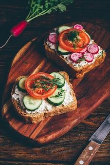 Два вегетарианских бутерброда со свежими нарезанными помидорами, огурцом и редисом