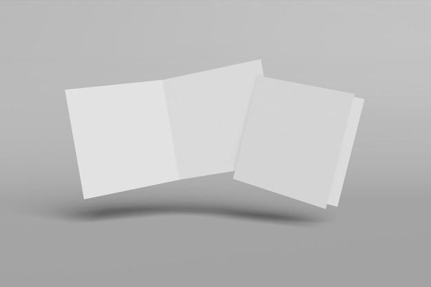 회색 배경에 고립 된 두 개의 수직 소책자