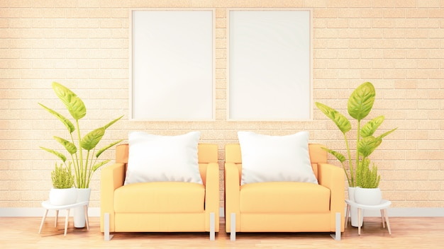 Two vertical photo frame for artwork, yellow sofa on loft room interior design, brick wall design. 3d rendering