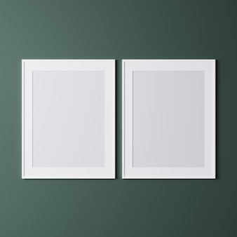 Two vertical white frame on green wall
