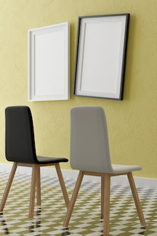 Two vertical white frame mock up, wooden frame and chairs on yellow wall, 3d illustration