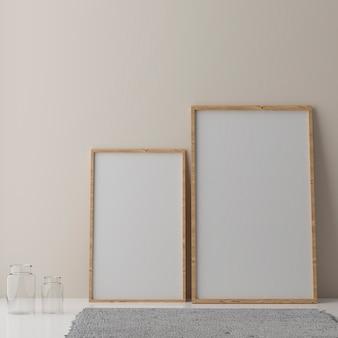 베이지 색 벽에 두 개의 수직 흰색 프레임 모형, 흰색 프레임