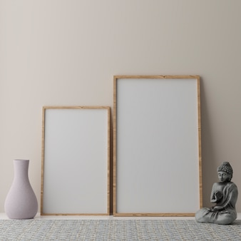 Two vertical white frames on beige wall