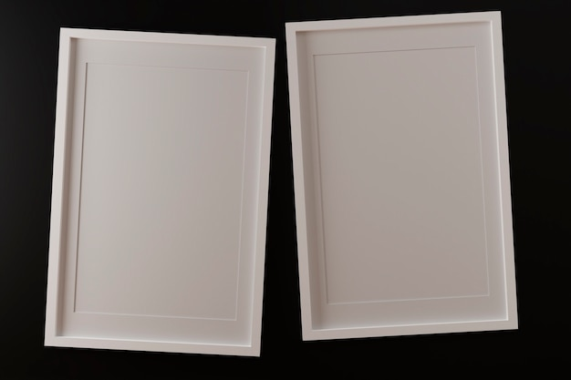 Two vertical white frames on black wall