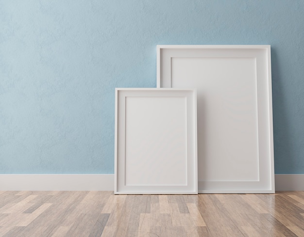 Two vertical white frames on blue wall