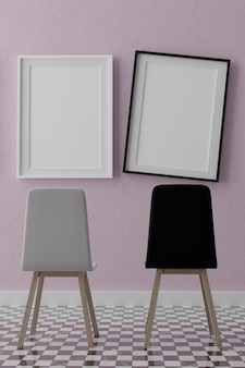 Two vertical white frames and chairs on pink wall
