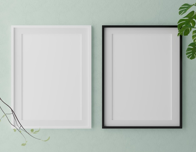 Two vertical white frames on green wall