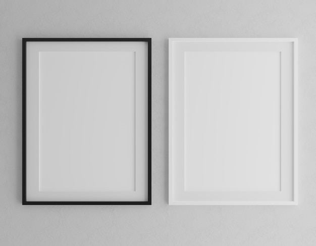 Two vertical wooden frames mock up on grey wall