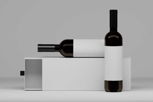 Two vine bottles with white labels and packaging gift box on white. 3d illustration.