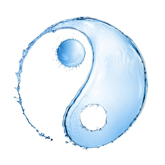 Two water splashes forming the shape of a yin yang sign isolated on white surface