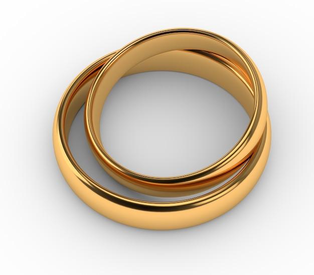 두 결혼 골드 반지는 흰색 절연 서로 거짓말