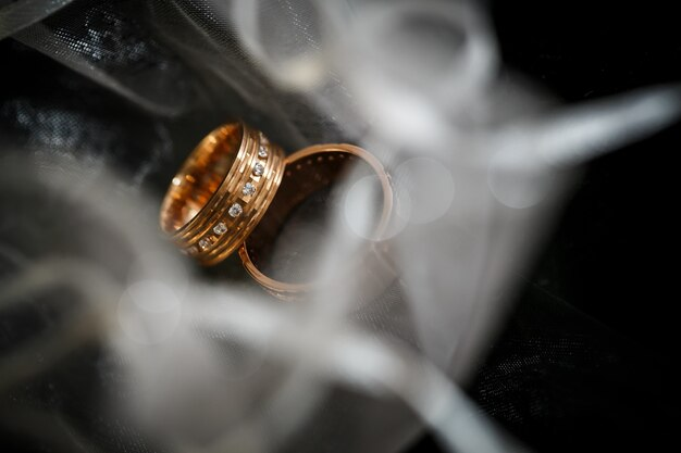 Two wedding rings in infinity sign.