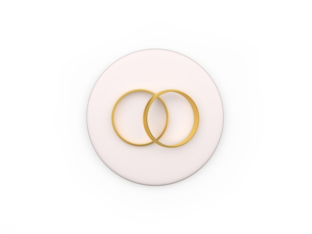 Two wedding rings on a round stand