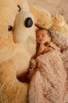 Two week old newborn baby sleeping on teddy bear