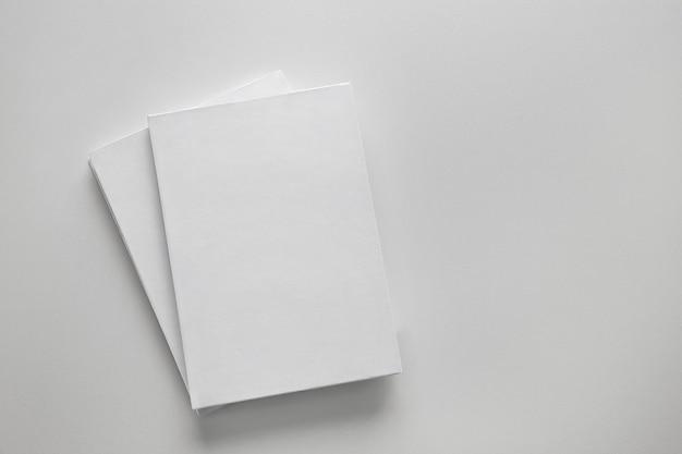 Two white books on light