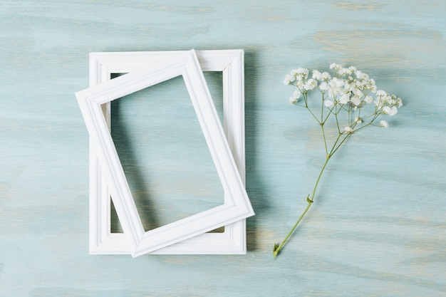 Two white border frames with baby's-breath flower on texture wooden backdrop