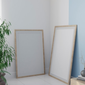Two white canvas on the floor