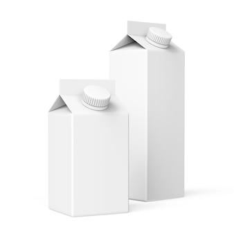 丸いスクリューキャップ付きのミルクの2つの白いカートンパッケージ