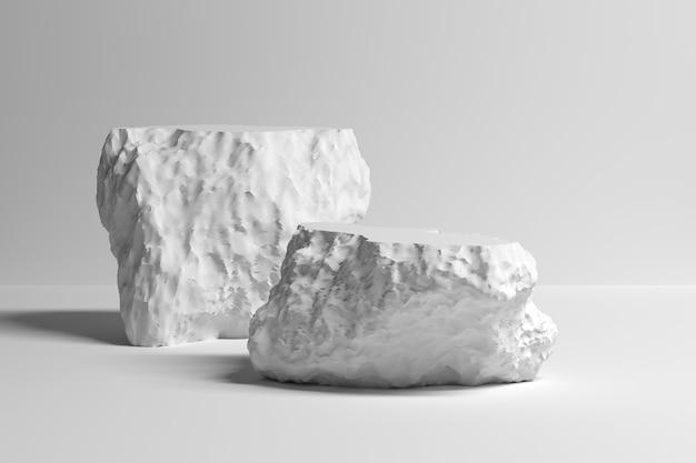 Пьедестал с двумя белыми декоративными камнями для презентации продукта