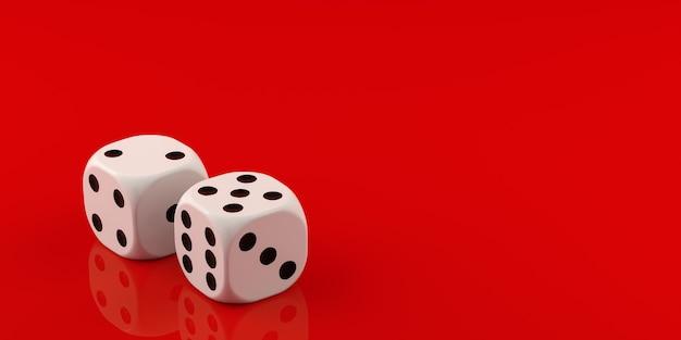 Два белых кубика на красном фоне 3d-рендеринга