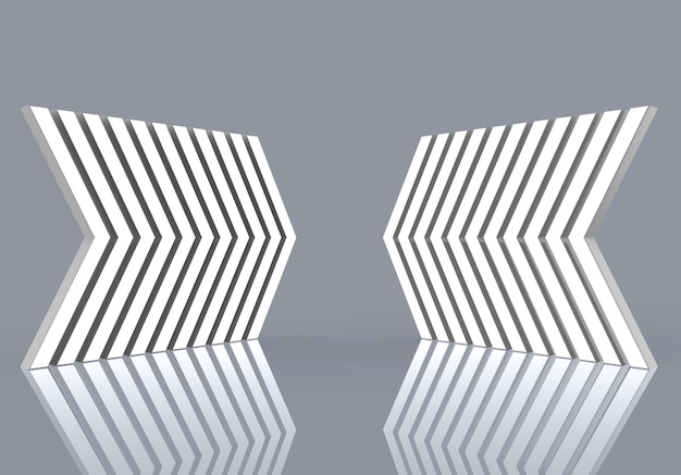 Two white directional sign pattern on gray background.