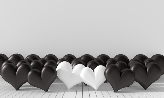 Two white heart and many black heart in the room. rooms of bad love on valentine`s day. 3d
