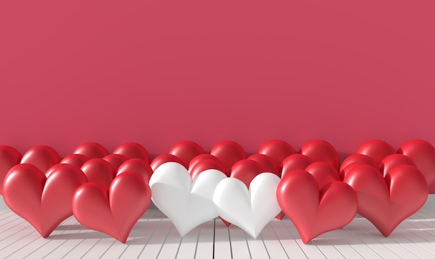Two white heart and many red heart on pink wall. love on valentine`s day. 3d render.