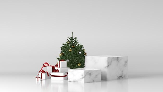Два белых мраморных цилиндрических подиума с елочными украшениями