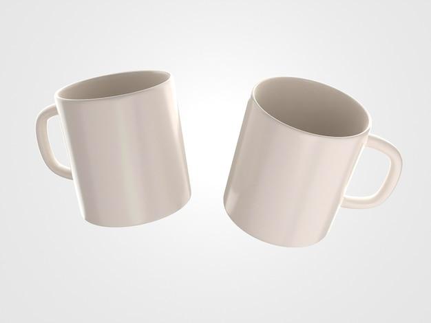 ハンドル付きの2つの白いマグカップ