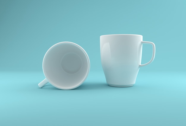 Two white realistic mug mockup 3d rendered