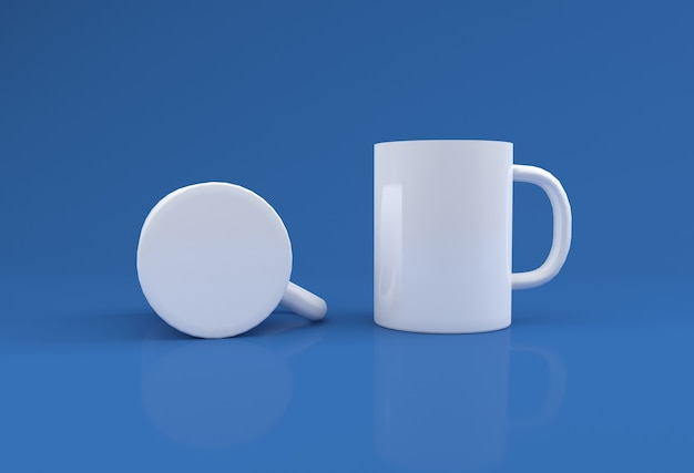 Two white realistic mugs mockup 3d rendered
