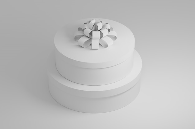 Two white round gift boxes with a box on white. 3d illustration.