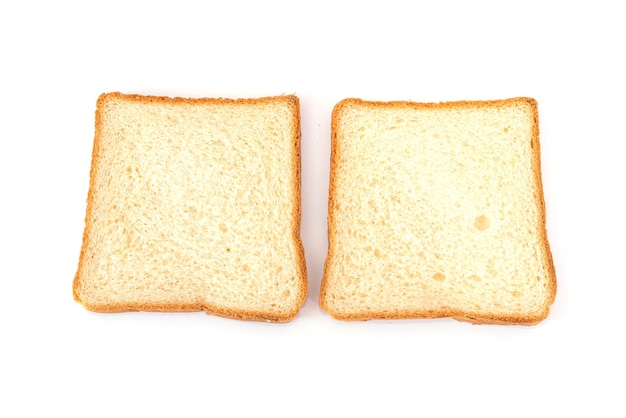 Two white slices of bread on a white background. toast bread.