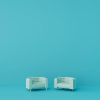 リビングルームの2つの白いソファには青い壁があります。 3dレンダリング。