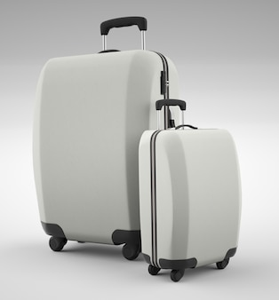 Two white travel bags isolated on bright. 3d rendering
