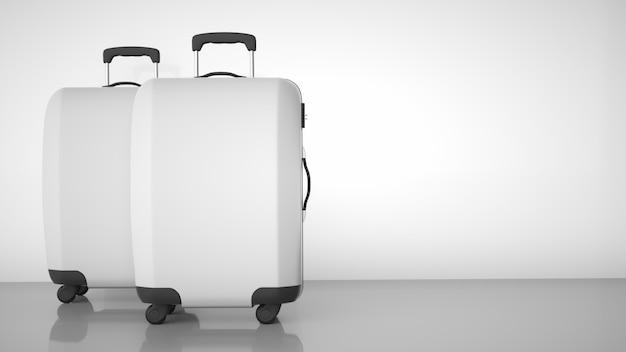Two white travel trolleys