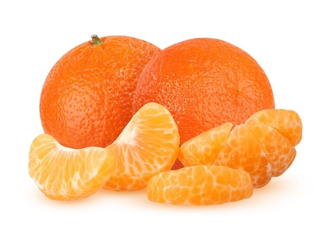 Two whole and peeled mandarin segments