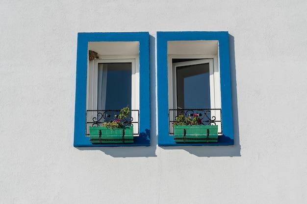 Два окна с цветочными горшками на белой стене в бодруме, турция, копия пространства