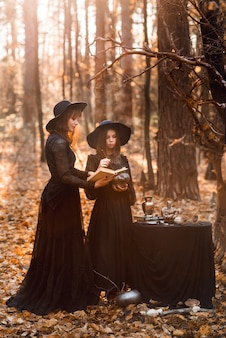 Two witches in the autumn forest. mother and daughter brew a potion..