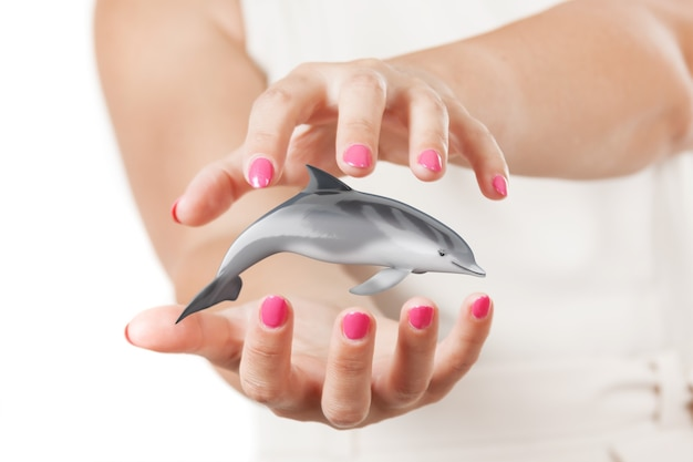 Two woman hands protecting tursiops truncatus ocean or sea bottlenose dolphin on a white background. 3d rendering